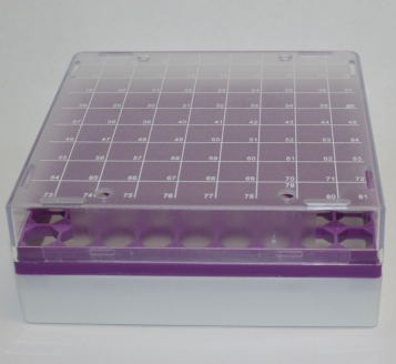 81-well Plastic Freezer Boxes - Polycarbonate (5/pk)